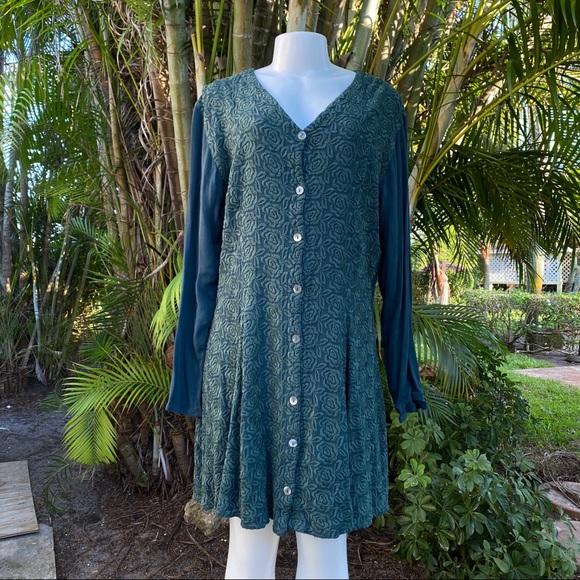 Vintage Dresses & Skirts - VTG Ghost Hunter Green Embroidered Grunge Dress M